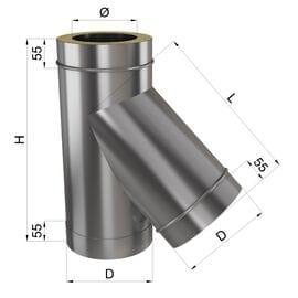 Тройник 45° н\н 0,8 мм
