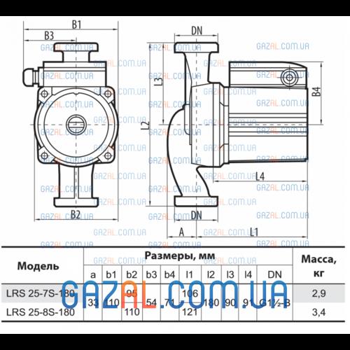циркуляционный насос LRS 25-8S-180