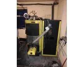 Запуск пеллетной горелки OXI 20 кВт в котле Kronas